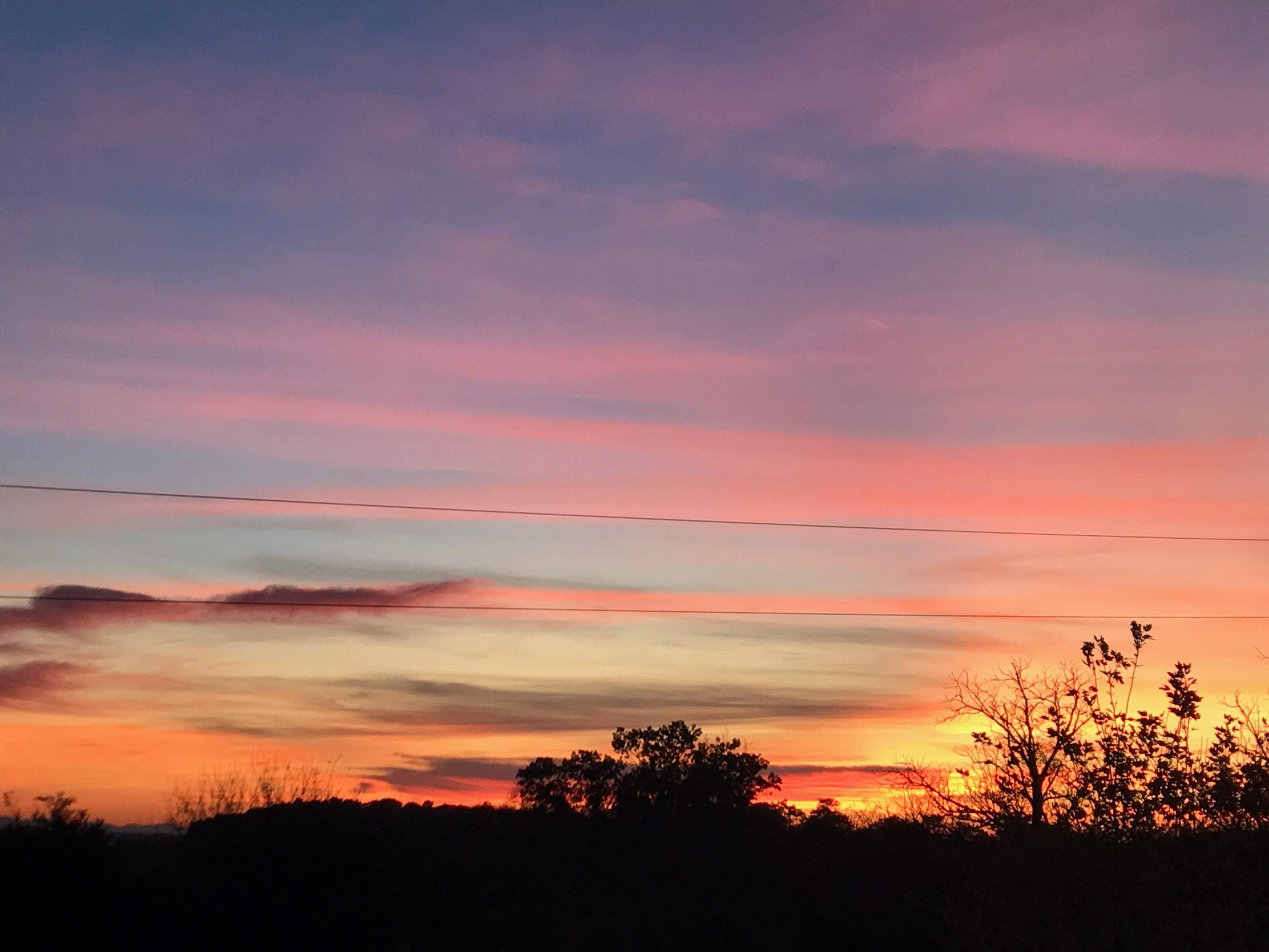Brillant pinks, blues and oranges in the morning light