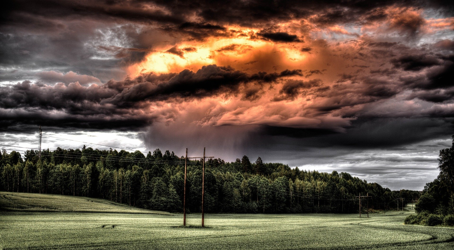 storm over wooded area