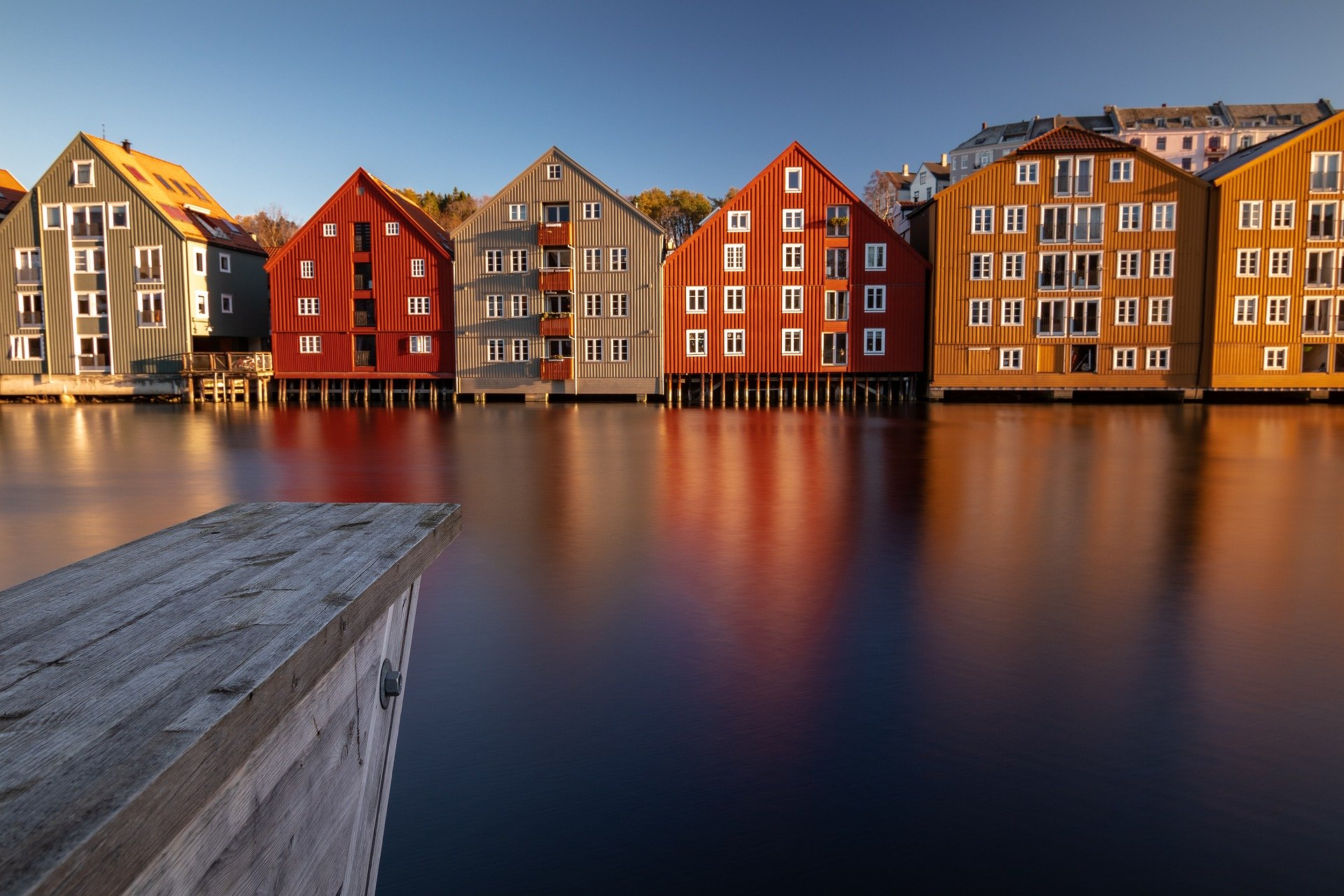 Colorful houses on a body of water